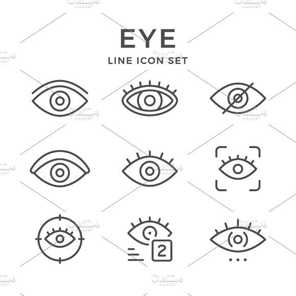 Set Line Icons Of Eye