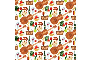 Summer picnic basket products wine seamless pattern background vector illustration in flat style.