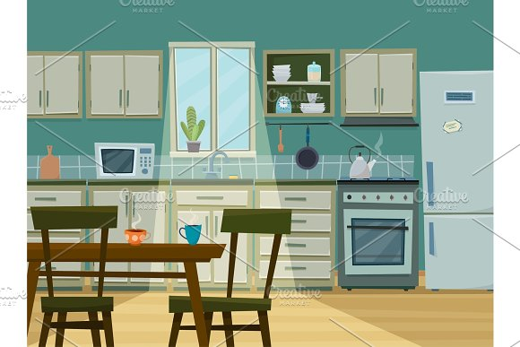 Cozy Kitchen Interior With Furniture And Stove