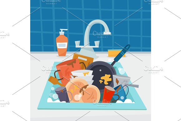Sink with dirty kitchenware and dishes, utencil and sponge.