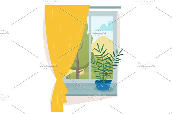 Window In Room With Curtain And House Plant