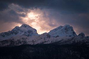 Dark winter sunset in the mountains