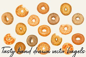 Hand drawn vector bagel set