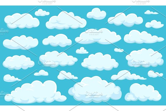 Set Of Clouds Of Different Shapes In The Sky For Your Web Site Design UI App Meteorology And Atmosphere In Space