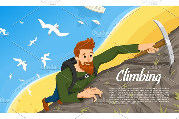 Young Bearded Hipster Climber With Ice Axe Climbing A Mountain Activity Sport Concept For Poster Tourist Hiking Background Extreme Risky Adventure Birds Fly Over The Beach And The Sea Top View