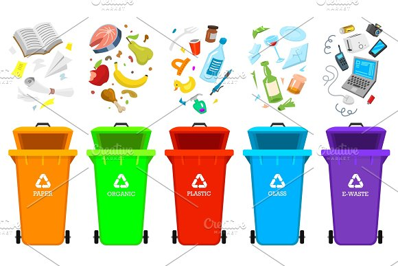 Recycling Garbage Elements Bag Or Containers Or Cans For Different Trashes Sorting And Utilize Food Waste Ecology Symbol Segregation Separation And Industry Management Concept Disposal Refuse Bin