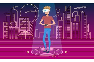Virtual reality world. A boy wearing VR headset. Man using glasses for education and play a computer games. Modern technology. Simulation and portable gadget. banner for web page. neon city background