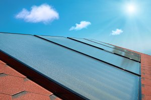 Solar water heating cells on a roof