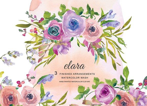 Watercolor Purple Pink Blush Flowers