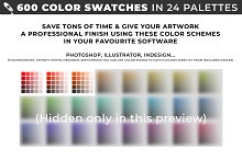 600 color swatches in 24 palettes by  in InDesign Palettes