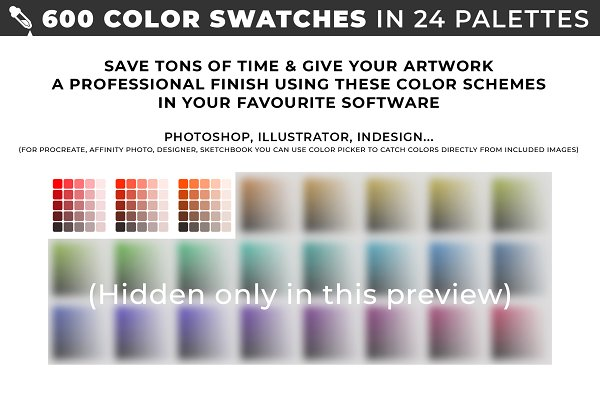 Color Palettes: ToonPlanet Vector Assets - 600 color swatches in 24 palettes