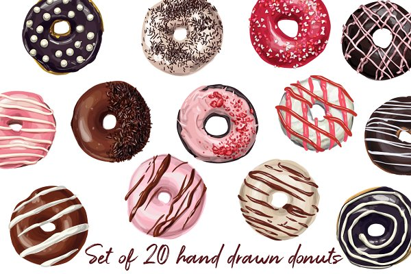 Taste of roundness. Donuts.