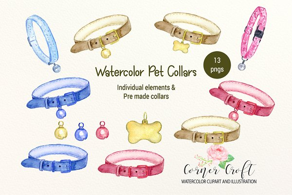 Watercolor Pet Collar Illustration