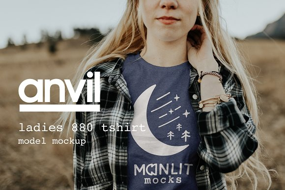 Download Anvil 880 Women's T-Shirt Mockup
