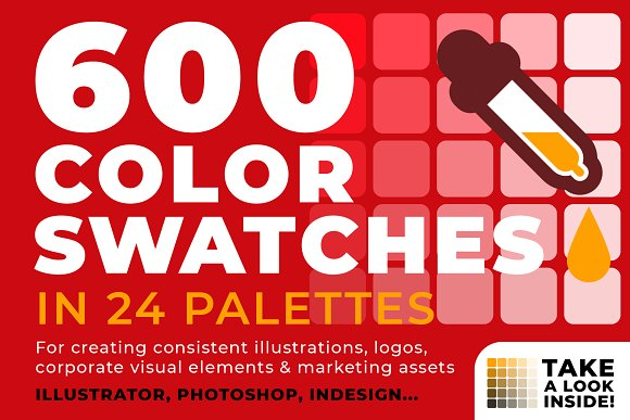 600 color swatches in 24 palettes