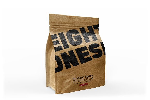 Free Halfside Kraft Paper Bag Mock-up