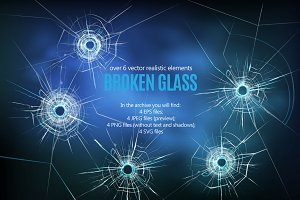 Broken Glass Realistic Set