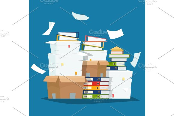 Pile Of Paper Documents And File Folders In Carton Boxes