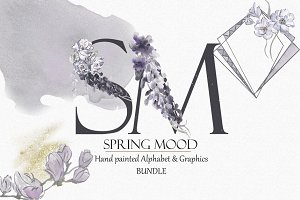 Spring Mood Alphabet&Graphics bundle