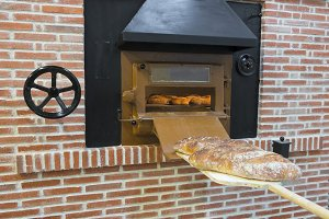 Traditional wood oven in a bakery