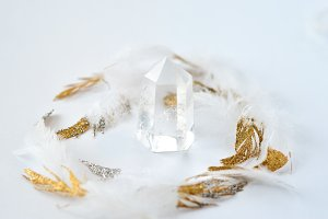 Quartz Glitter Feathers