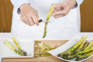 Trim and peel asparagus