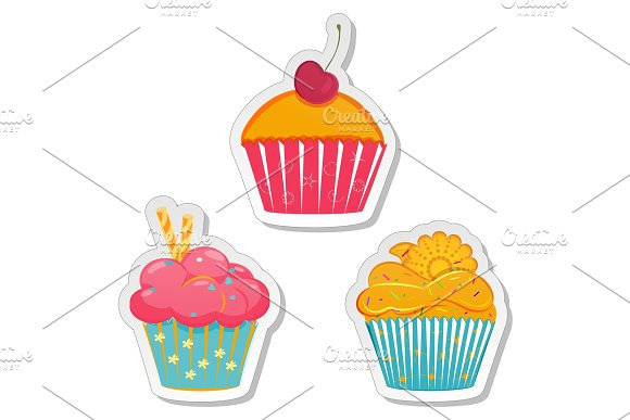 Food Labels Or Stickers Set Cupcakes