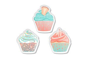 Cupcake stickers, food labels set in pastel colors