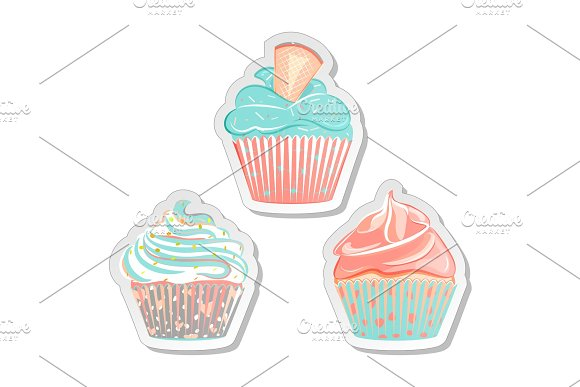 Cupcake Stickers Food Labels Set In Pastel Colors
