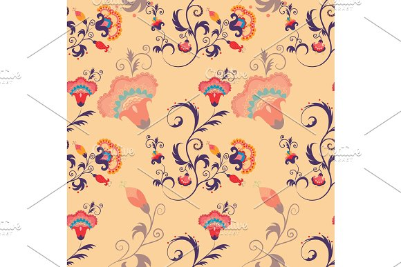 Asian Seamless Detailed Vector Pattern