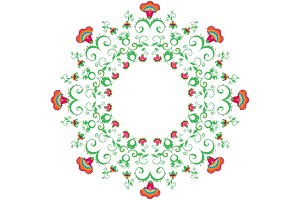 Abstract round ornament, mandala with indian styled flowers