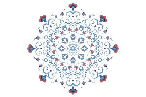 Abstract ornament, mandala with styled flowers