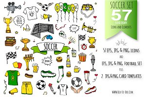 57 SOCCER color hand drawn symbols!
