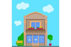 Coffee shop store vector