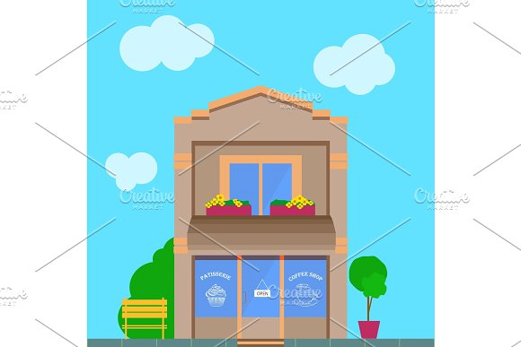 Detailed Vector Old City Building With Coffee Shop Storefront
