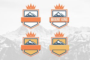 Mountain Crown Shield Badge Logo