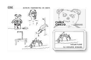 90's notebook doodles vector.