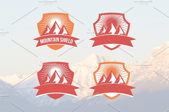 Mountain Sunrise Shield Badge Logo