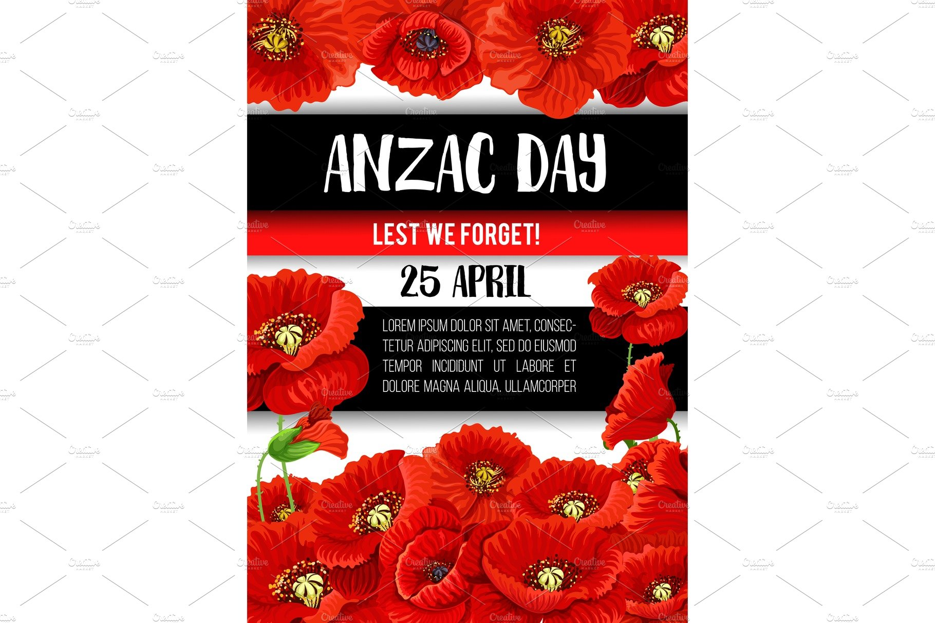 Anzac Day Poppy Flower Memorial Banner Design Illustrations