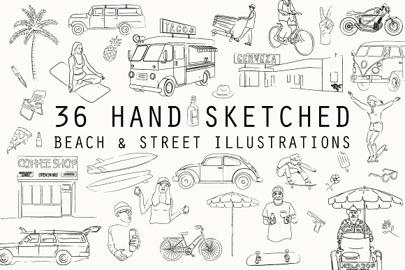 36 Hand Sketched Vector Drawings
