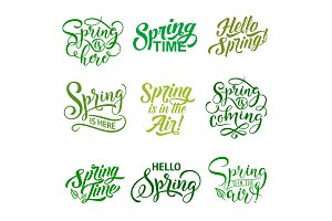 Vector springtime season quotes icons vector set
