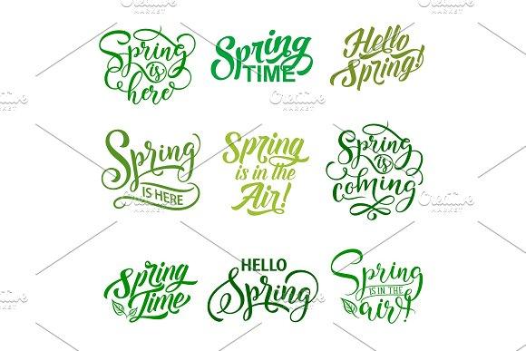 Vector Springtime Season Quotes Icons Vector Set