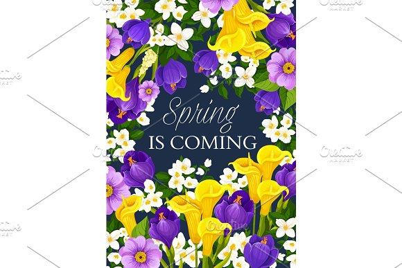 Spring Season Holiday Flowers Vector Greeting Card
