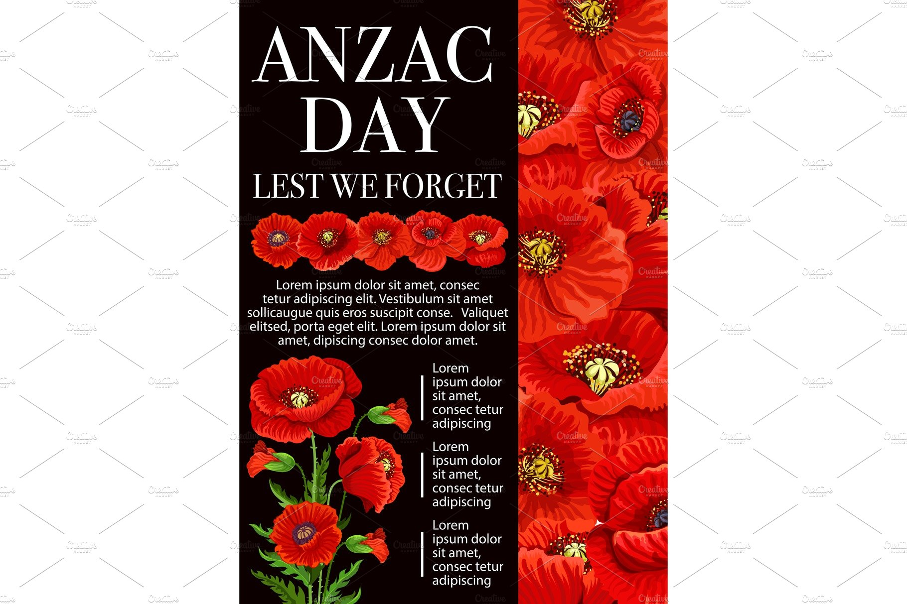 Anzac Day Poppy Flower For Lest We Forget Banner Illustrations