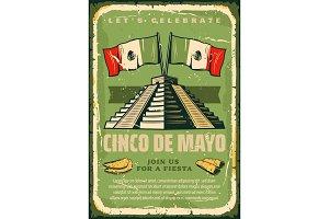 Mexican fiesta Cinco de Mayo vector sketch poster