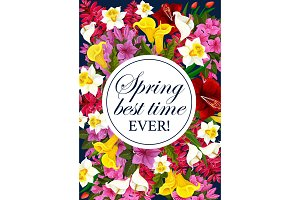 Vector springtime floral greeting flowers poster