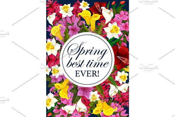 Vector Springtime Floral Greeting Flowers Poster