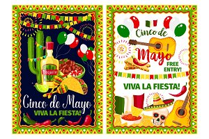 Mexican holiday card of Cinco de Mayo fiesta party