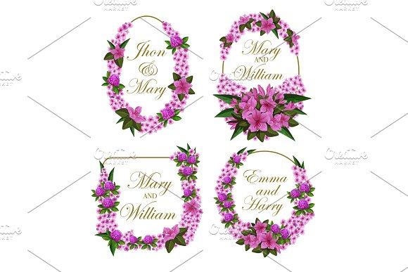 Flowers Frames Vector Icons For Wedding Save Date