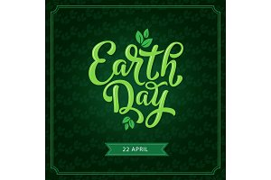Earth Day poster with green leaf for eco design